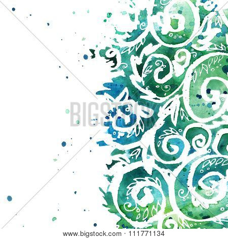 floral background. Natural watercolor floral ornament. watercolor floral lace background. Grass, flo