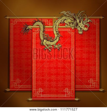 Red Scroll With Chinese Dragon Golden