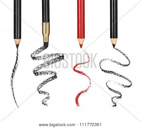 Collection Of Cosmetic Pencil And Stroke Isolated On White