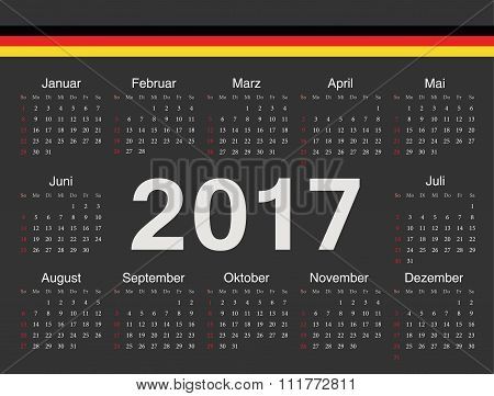 Vector Black German Circle Calendar 2017