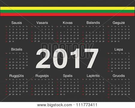 Vector Black Lithuanian Circle Calendar 2017