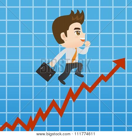Cartoon Businessman Promots Sales Growth