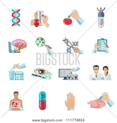 Flat Color Biotechnology Icons Set