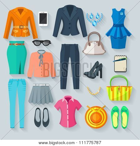 Color Woman Clothes Flat Icons Set