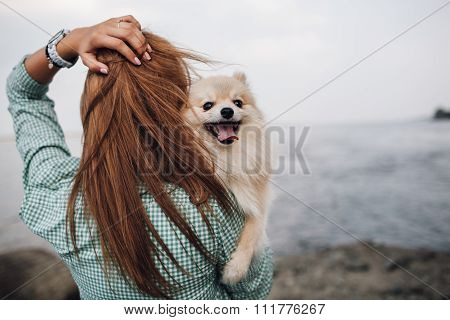 Young adult  woman is holding a dog on her shoulder. Woman turned back