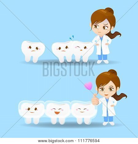 Cartoon Doctor Dentist Woman