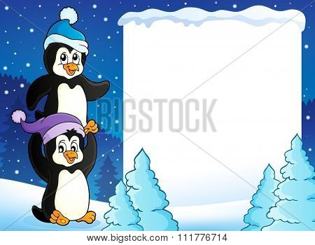 Snowy frame with penguins - eps10 vector illustration.