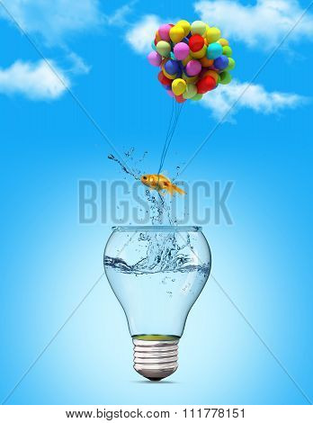 Gold Fish Flying Away From A Lightbulb With The Help Of A Balloons
