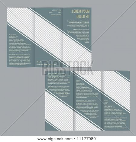 Tri-fold Flyer Brochure Template With Slate Blue Stripes