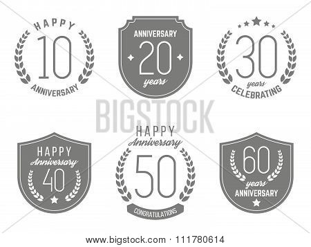 Vector set of anniversary signs, symbols. Ten, twenty, thirty, forty, fifty, sixty years jubilee des