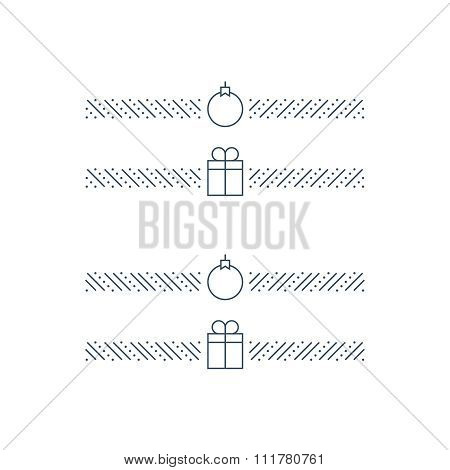 Elegant New Year theme borders, decoration elements