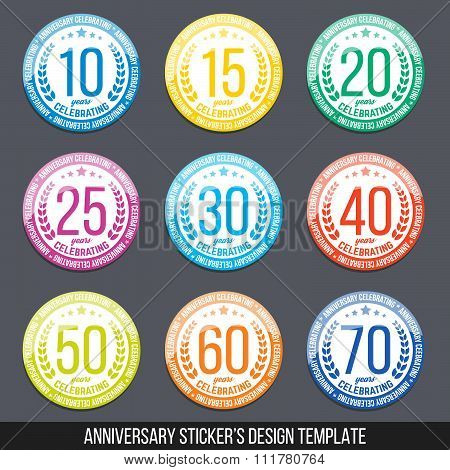 Vector color set of anniversary stickers. Ten, fifteen, twenty, thirty, forty, fifty, sixty, seventy