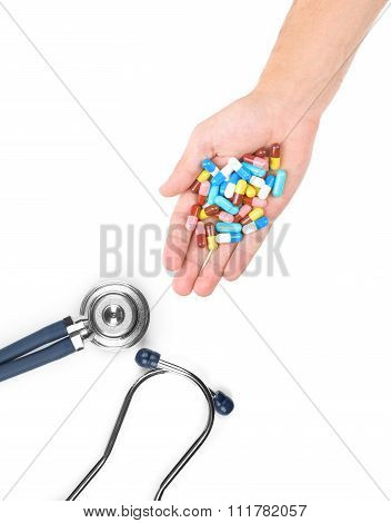 A Doctors Stethoscope Isolated On White