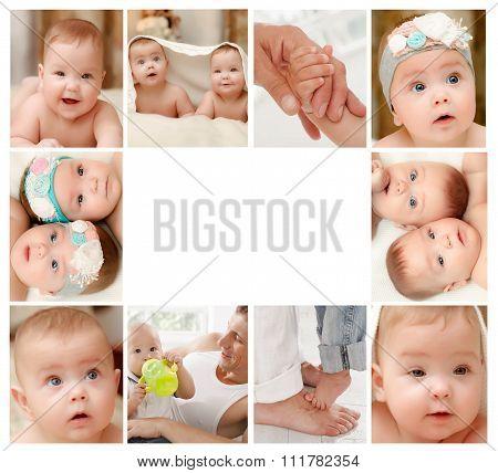 Newborn baby collage