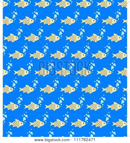 Seamless sea pattern. Yellow fish and light blue bubbles on blue