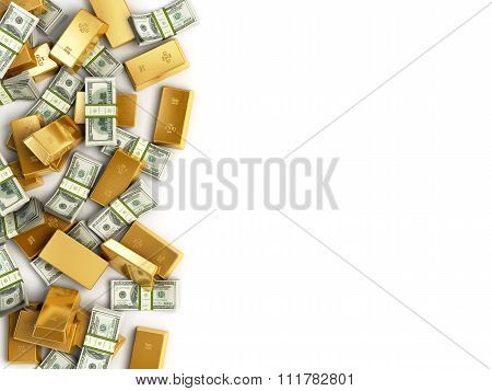 Heap Of Treasure. Golden Bars And Staks Of Dolar Bills  Isolated On White Background. Business Finan