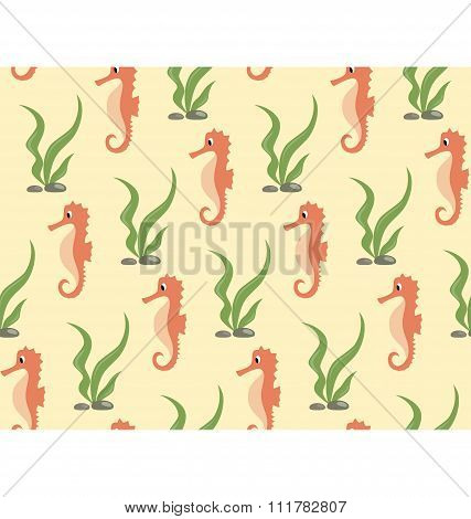 Seamless sea pattern. Orange seahorse and green algae on yellow