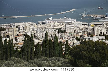 Panoramic view from Bahai Gardens to cityscape and port in Haifa, Israel.