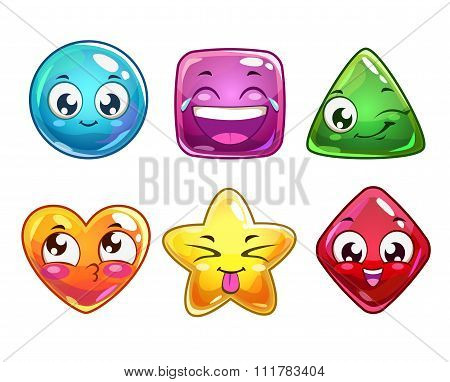 Funny cartoon vector characters icons