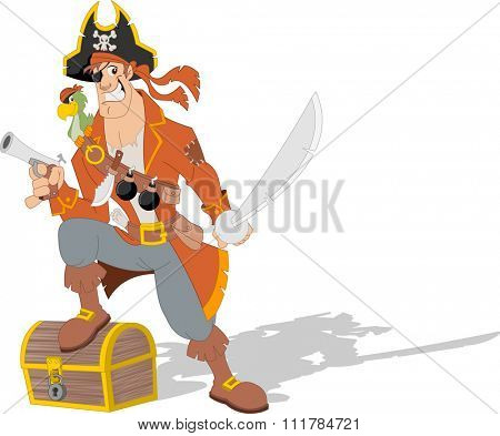 Cartoon pirate with weapons and parrot