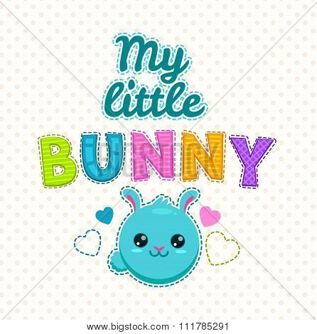 Cute kids illustration with a bunny face