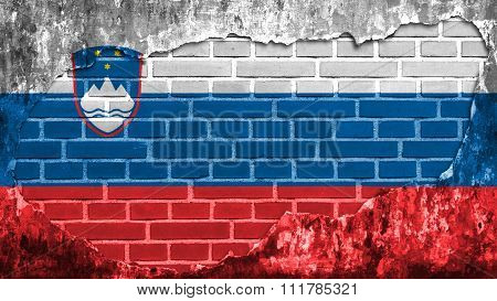 Slovenia flag, Slovenian Flag painted painted on brick wall