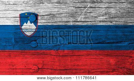 Slovenia flag, Slovenian Flag painted on wood
