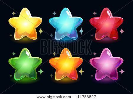 Cartoon colorful glossy stars
