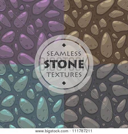 Stone vector textures set