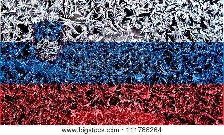 Slovenia flag, Slovenian Flag painted on frost texture