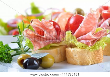 Appetizers with salami