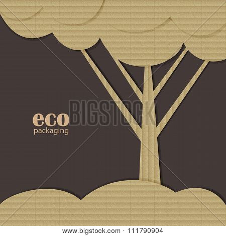 Tree patterned as cardbox, eco packaging concept.