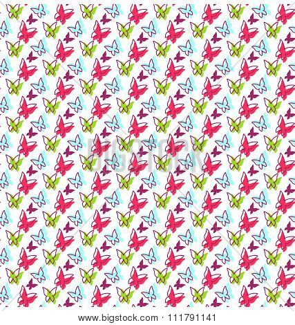 Seamless Bright Spring Summer Butterfly Pattern