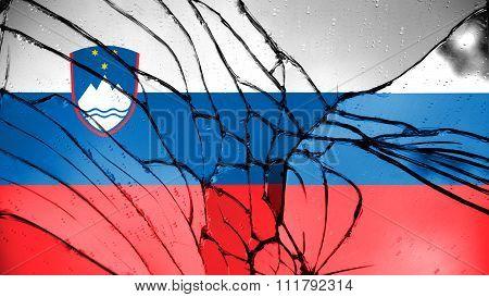 Flag of Slovenia, Slovenian Flag painted on broken glass