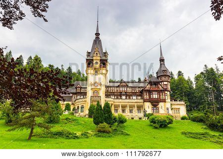 View of Peles castle in Sinaia Romania