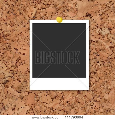 Vector cork board with photo card and yellow pin