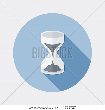 Flat design sandglass icon with long shadow