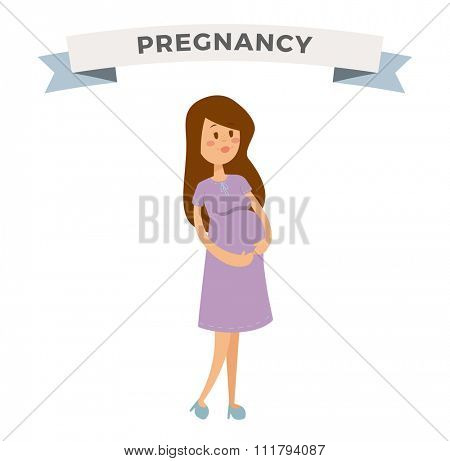 Pregnant woman vector cartoon illustration. Young mother pregnant girl. Pregnant woman isolated on white background. Pregnancy, maternity feemale girl