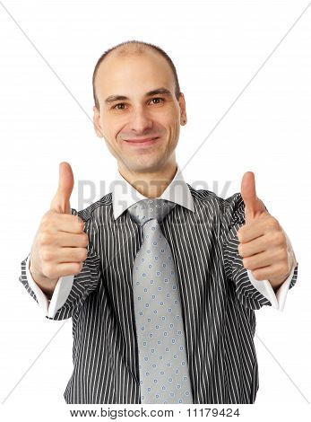 Happy Young Man Showing Thumb Up And Smiling