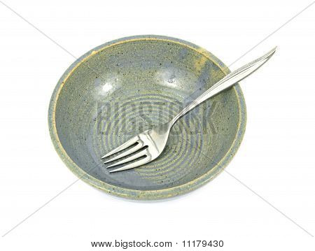 Speckled Pottery Bowl And Fork
