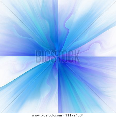 Abstract White Background With Blue Or Turquoise Color Flower Or Rays In The Center Texture, Fractal