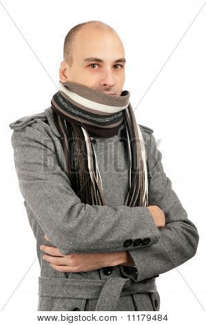 Portrait Of Handsome Man In Scarf And Coat