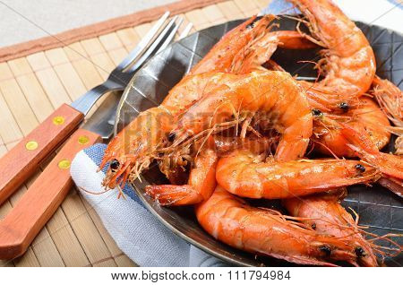 Fried king prawns