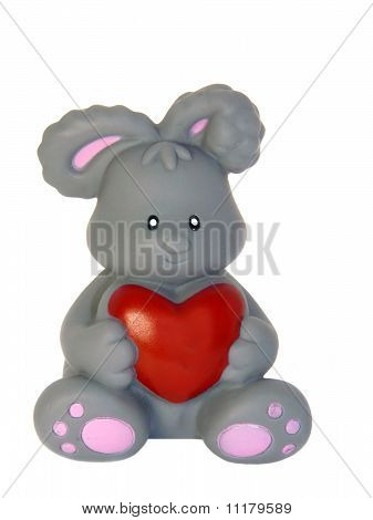 Symbol, The Rabbit With Red Heart Isolated On White Background