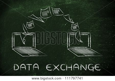 Laptops With Documents Flying From One Screen To The Other, Data Exchange