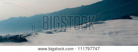 Sheet of Thick Fog close to volcano Bromo
