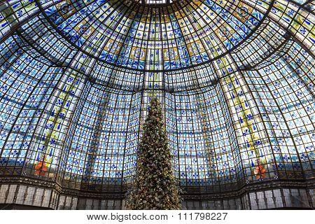 Christmas Decorations At Galeries Lafayette Store, Paris, France