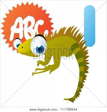 vector cute comic cartoon cool animals alphabet set: I is for Iguana
