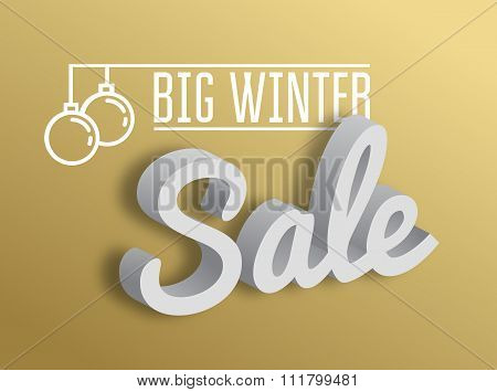 Big Winter Sale. The 3D Text On Gold Background. Vector Illustra