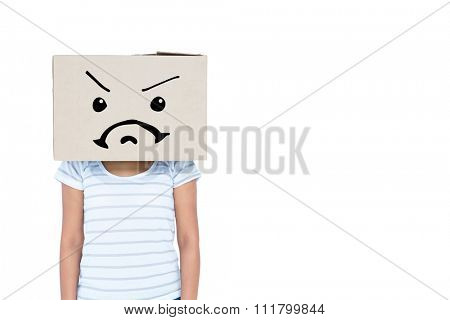 Depressed woman with box over head against white background with vignette